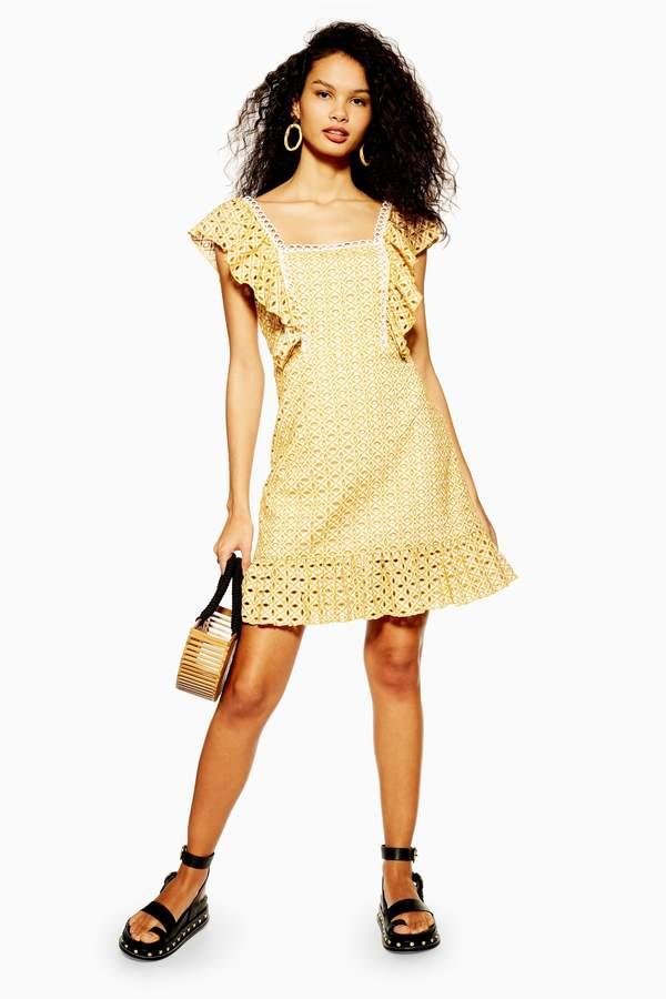 Topshop Womens Yellow Broderie Mini Dress - Yellow