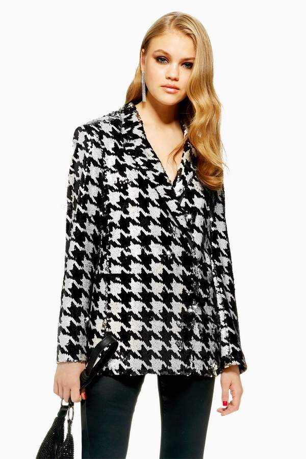 Topshop Houndstooth Sequin Jacket