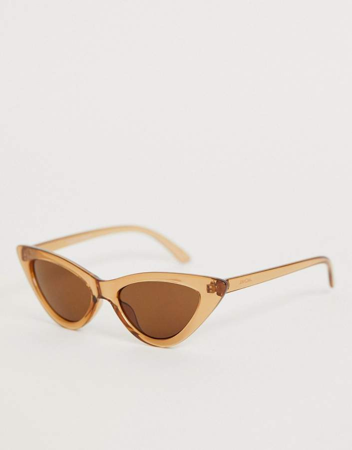 Monki cat eye sunglasses in transparent brown