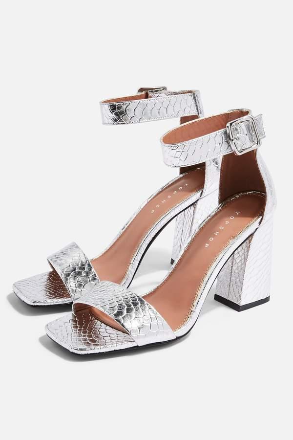 Topshop Womens Suki Two Part Sandals - Silver