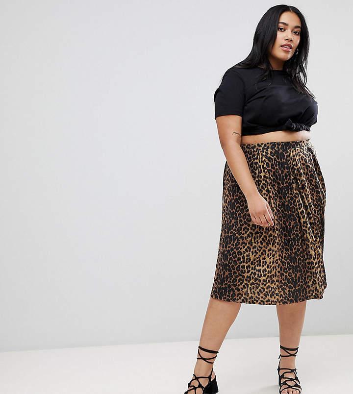 Asos Curve ASOS DESIGN Curve box pleat midi skirt in leopard print