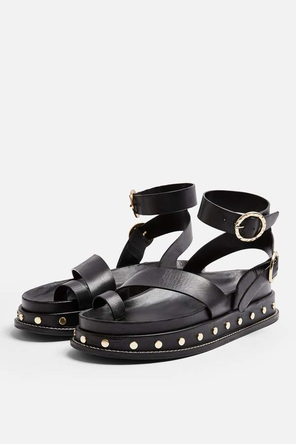 Topshop Womens Fawn Black Footbed Sandals - Black