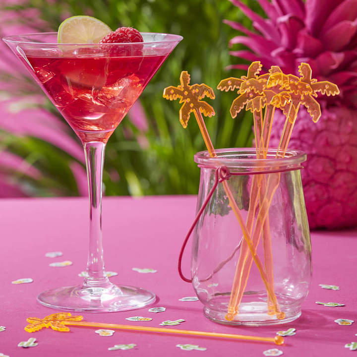 Ginger Ray Tropical Orange Palm Drink Cocktail Party Stirrers