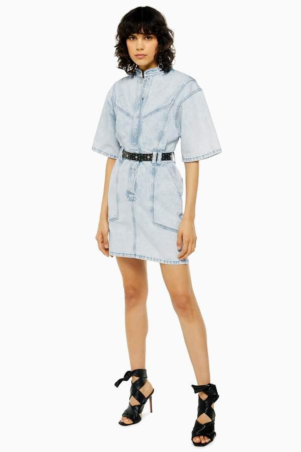 Acid Wash Short Sleeve Denim Dress
