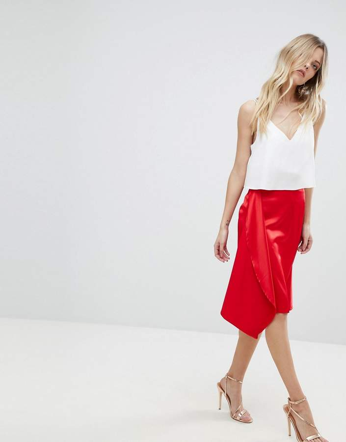 ASOS DESIGN ASOS Satin Midi Skirt with Thigh Split