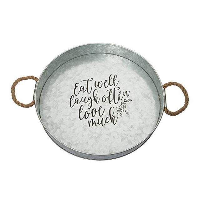Brownlow Gifts Galvanized Metal Round Serving Tray, Eat Well Laugh Often Love Much