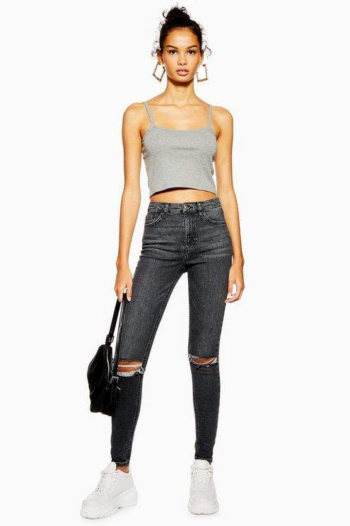 Topshop Womens Washed Black Rip Jamie Jeans