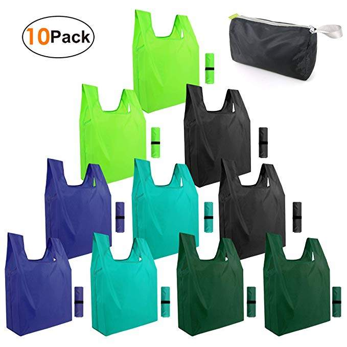 Reusable-Grocery-Bags-Shopping-foldable-bags 10 pack Foldable Bags cloth bags for groceries reusable bags bulk eco friendly bags Zipper bags Gift Bags for Women Girls Washable Lightweight Sturdy