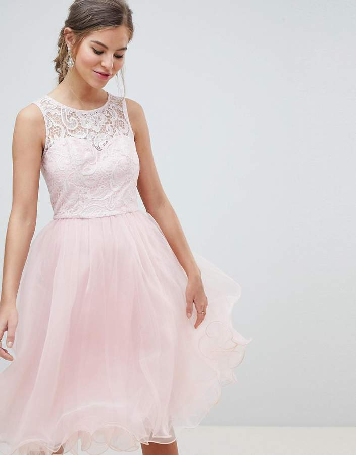 Chi Chi London Midi Tulle Prom Dress With Premium Lace Bodice