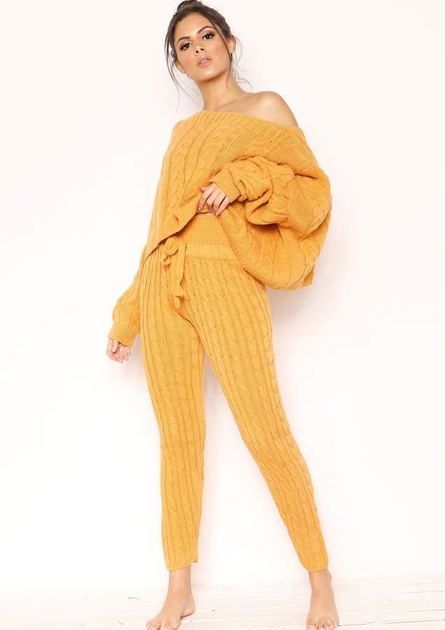 Missyempire Nadene Mustard Knit Leggings
