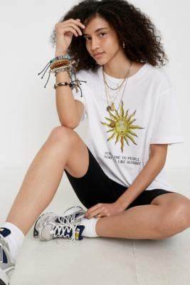 UO Sunshine People Organic Cotton T-Shirt - white S/M at Urban Outfitters