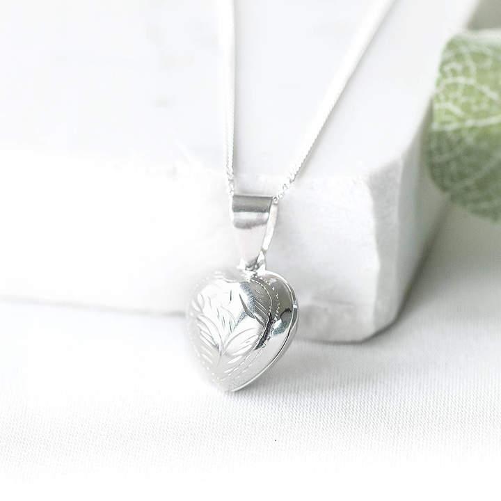 Peony Love Silver Heart Photo Locket
