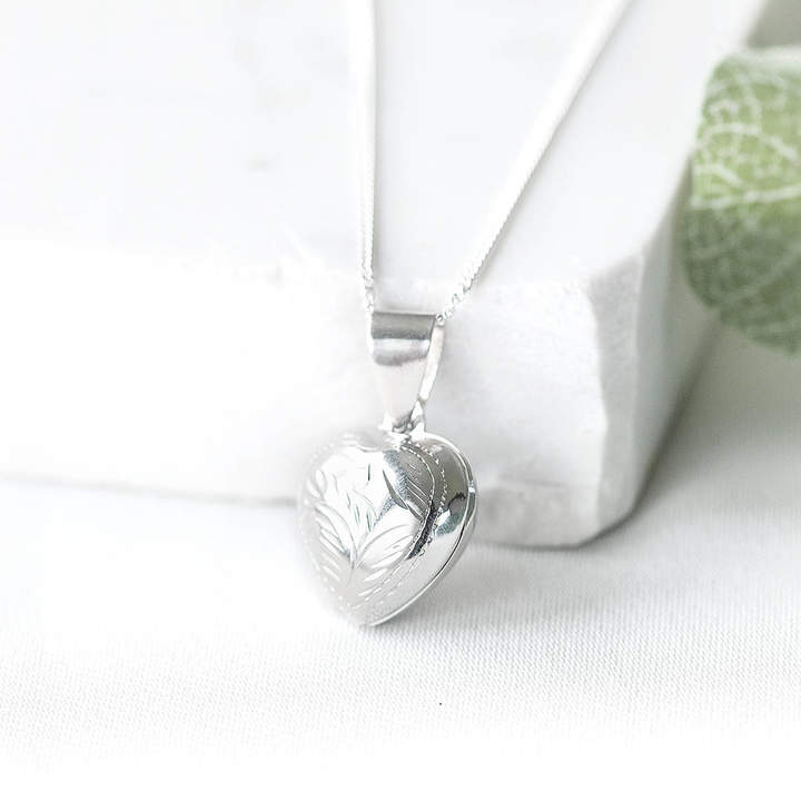 Peony Love Silver Heart Photo Locket
