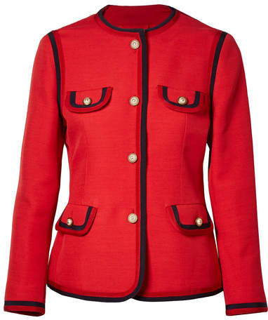 Gucci - Faux Pearl-embellished Wool And Silk-blend Jacket - Red