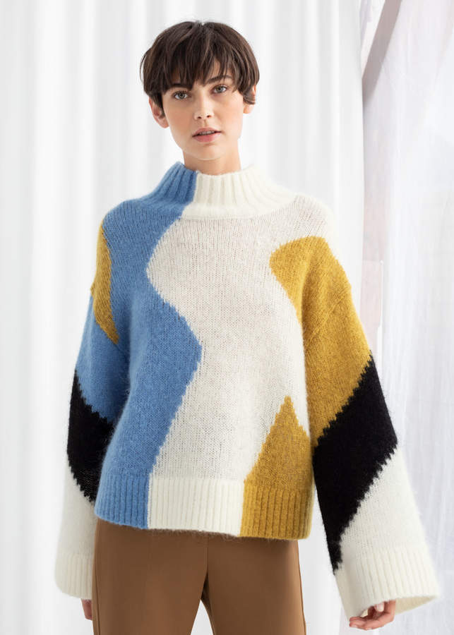 And other stories Colour Block Mock Neck Sweater