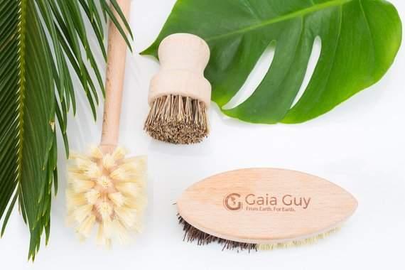 Wood and Tampico Bottle Brush - Pot Brush - Vegetable Brush Set - Zero Waste & Biodegradable Kitchen Brushes