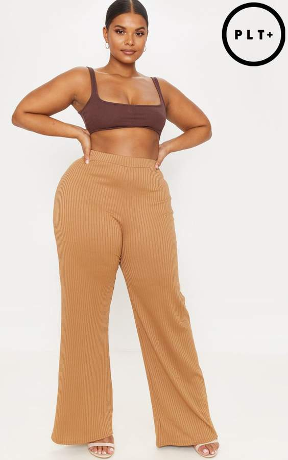 Plus Camel Ribbed Wide Leg Trouser