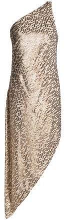 Halston Heritage One-Shoulder Sequin-Embellished Crepe De Chine Dress