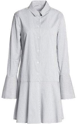 Equipment Fluted Striped Cotton-Poplin Mini Dress