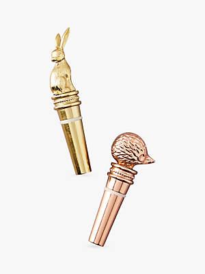 Anthropologie Duet Bottle Stopper, Gold / Copper, Set of 2