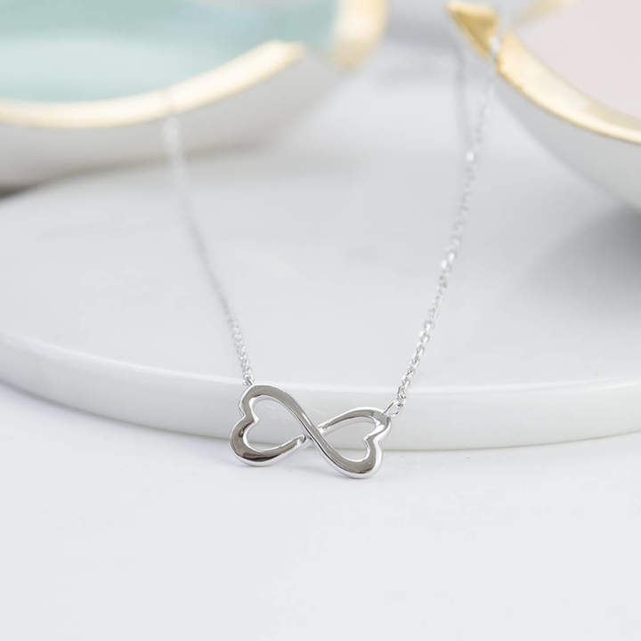 Peony Love Silver Heart Infinity Necklace