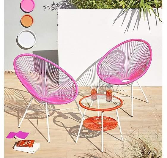 George Home Camden 3 Piece Bistro Set - Pink and Orange