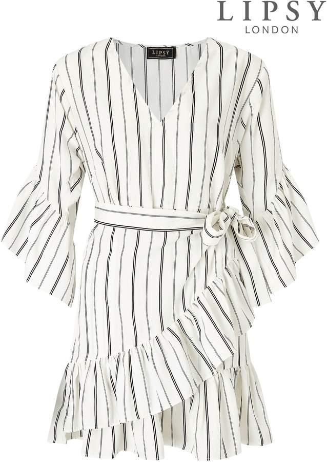 Womens Lipsy Stripe Ruffle Mini Wrap Dress