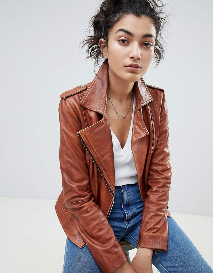 Barney's Originals Leather Biker Jacket