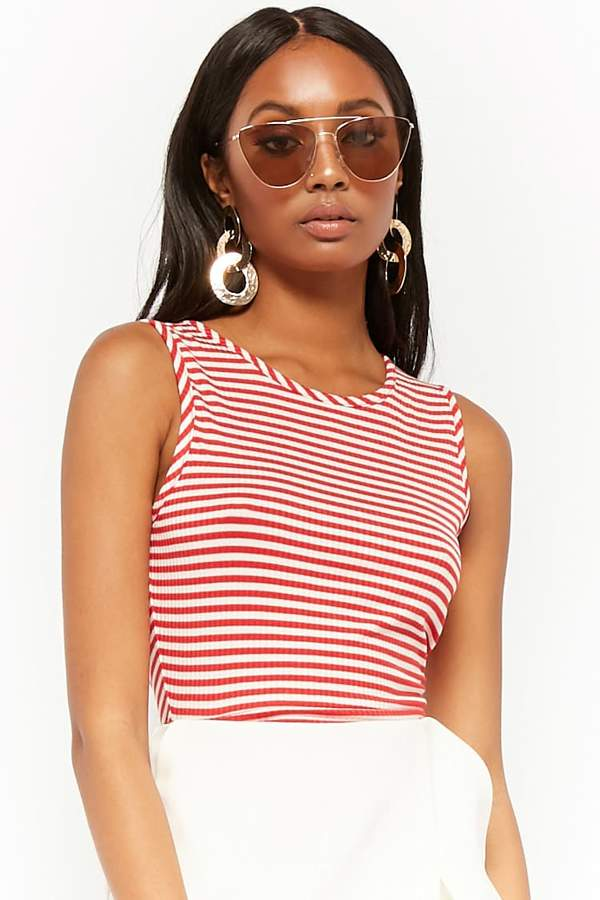 Forever 21 Striped Caged Back Crop Top