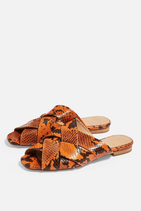 Topshop Womens Hop Neon Flat Sandals - Orange