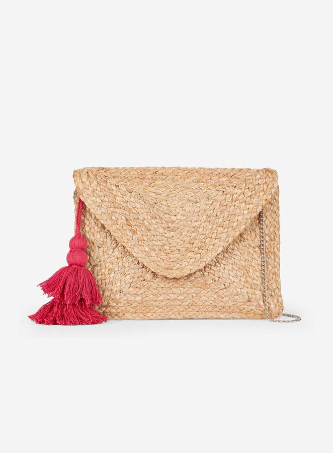 Dorothy Perkins Womens Multi Colour Tassel Straw Clutch Bag