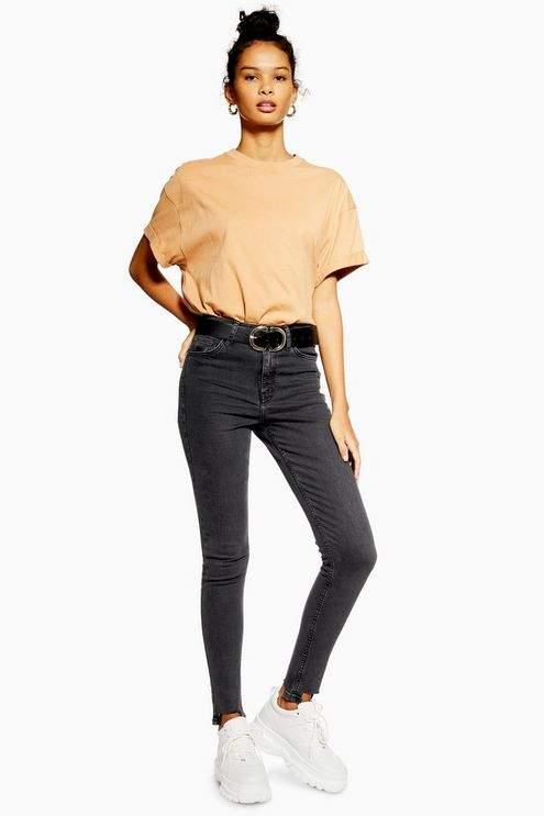 Topshop Womens Washed Black Square Hem Jamie Jeans