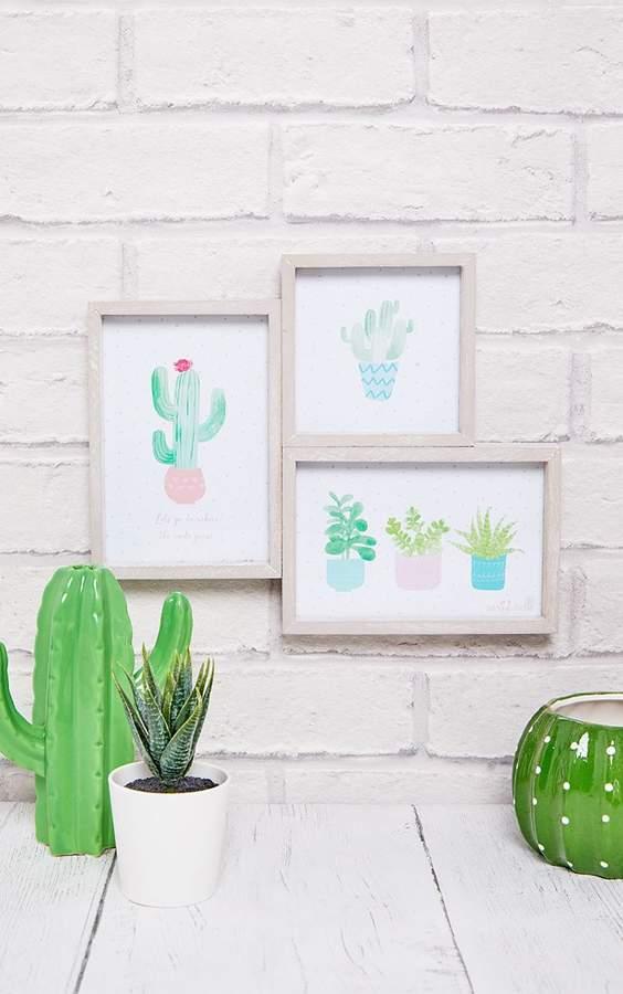 Three Pastel Cactus Wooden Multi Photo Frame