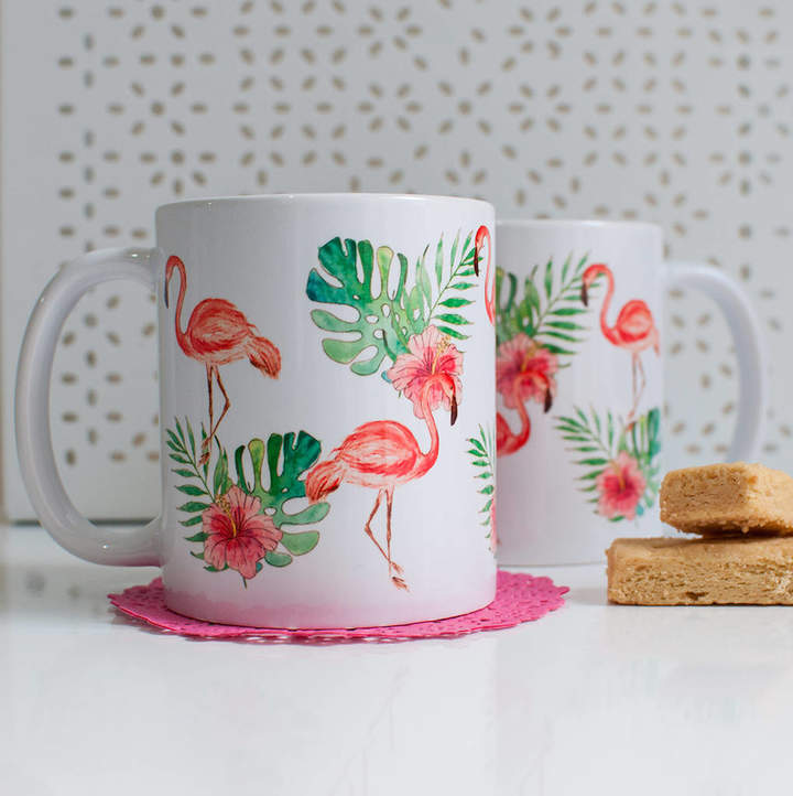 Dessi Designs Pink Flamingos Coffee / Tea Mug