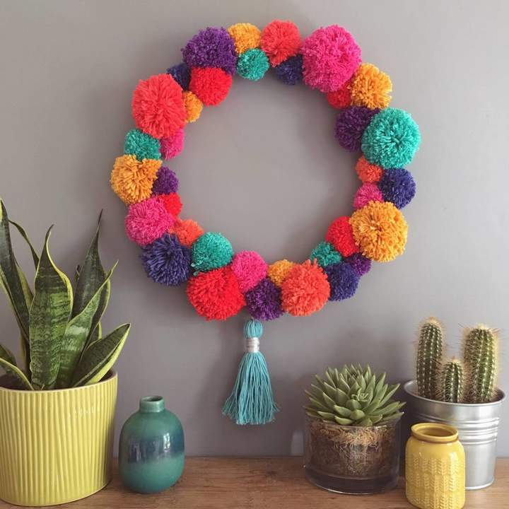 Pins and Needles Handmade Bright Pom Pom Wreath
