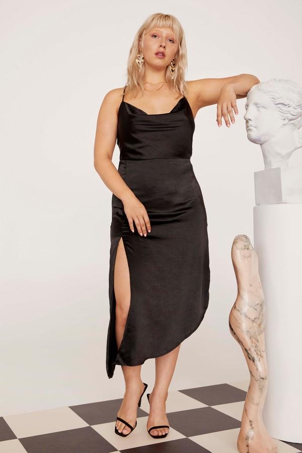 Nasty Gal Womens Cowl To Be A Heartbreaker Satin Midi Plus Dress - Black - 16, Black