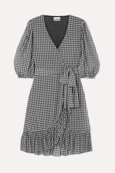 Ganni GANNI - Gingham Mesh Wrap Mini Dress - Black