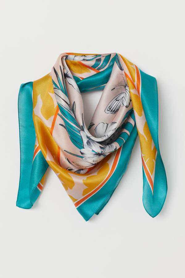 H&M - Patterned Silk Scarf - White