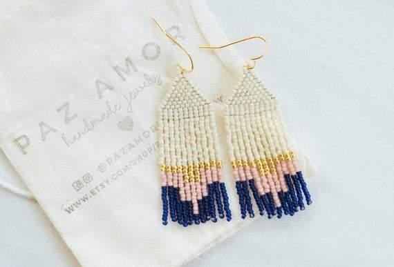 Short Bead Woven Earrings | Lightweight Fringe Dangle Earrings | Pink Gold Blue