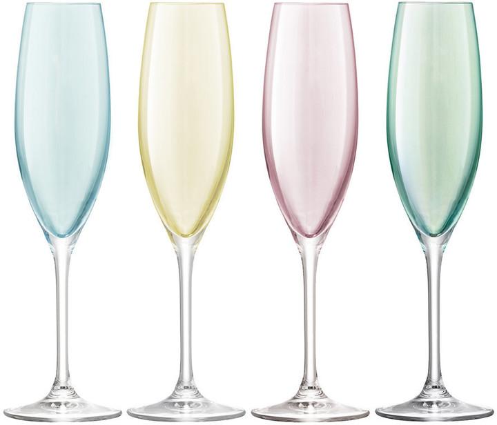Lsa International LSA International - Polka Assorted Champagne Glasses - Set of 4 - Pastel