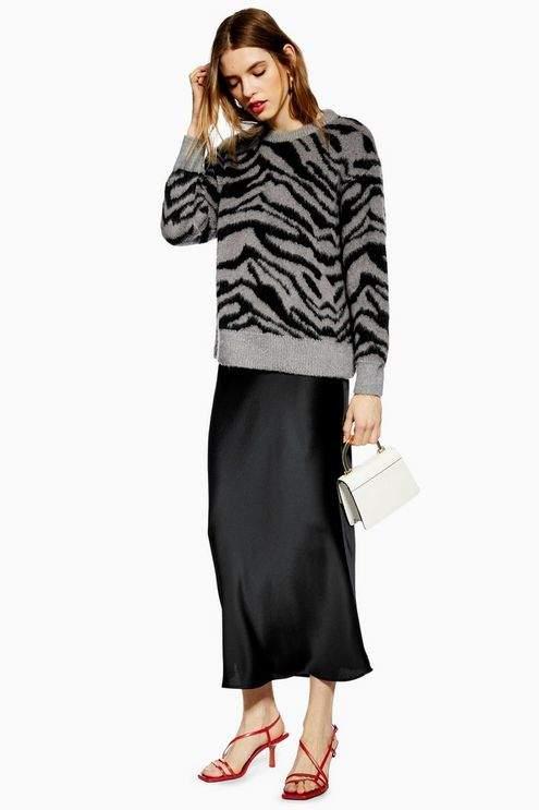 Topshop Womens Tall Satin Bias Midi Skirt