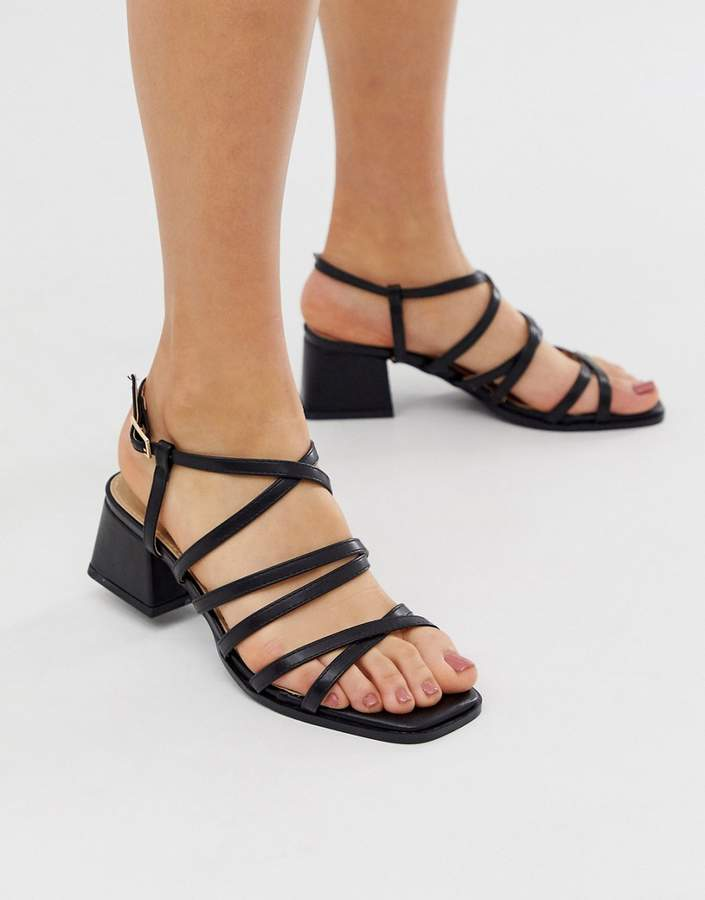 Raid RAID Fabrizia black strappy mid heeled square toe sandals