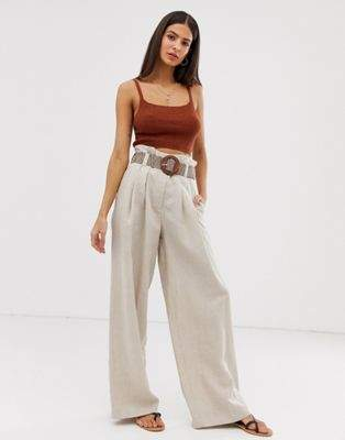 River Island wide leg trousers with belt in oatmeal