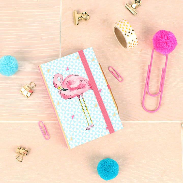 Milly Green Tropical Flamingo A7 Notebook Mini Pen
