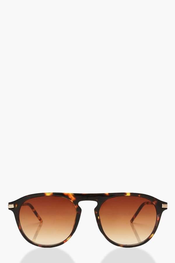 Tortoiseshell Square Frame Sunglasses & Pouch
