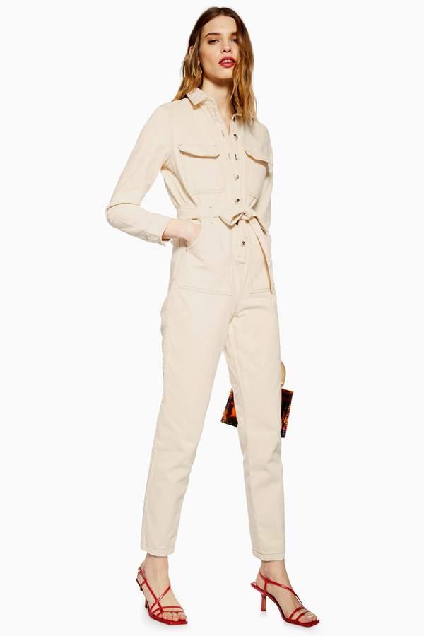 Topshop Womens Cream Denim Boiler Suit - Cream