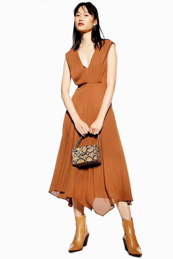 Topshop Womens Pleated Pinafore Dress - Tobacco