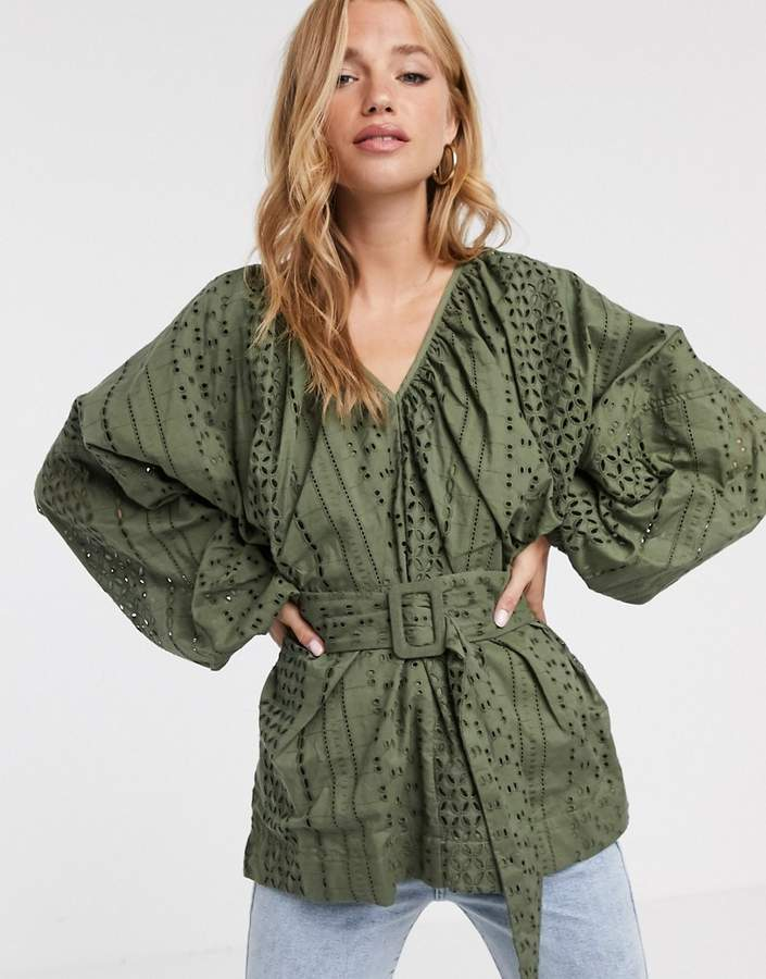 Asos Design ASOS DESIGN broderie kimono sleeve top with belt detail