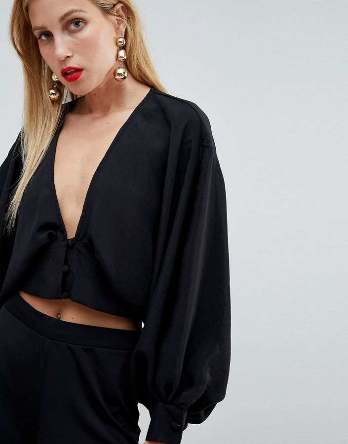 Asos Design ASOS DESIGN long sleeve batwing plunge top