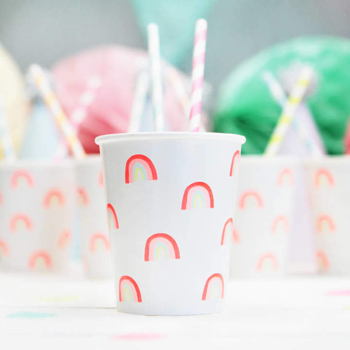 Postbox Party Neon Rainbow Pattern Party Cups